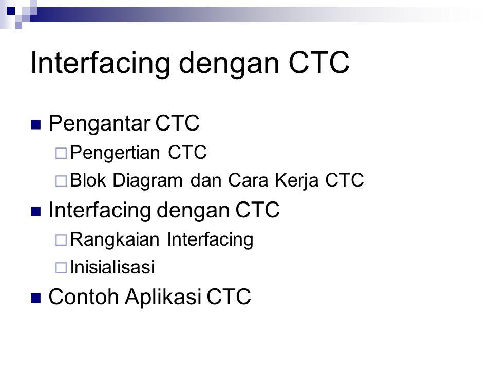 Interfacing dengan CTC Pengantar CTC  Pengertian CTC  Blok Diagram dan Cara Kerja CTC Interfacing dengan CTC  Rangkaian Interfacing  Inisialisasi