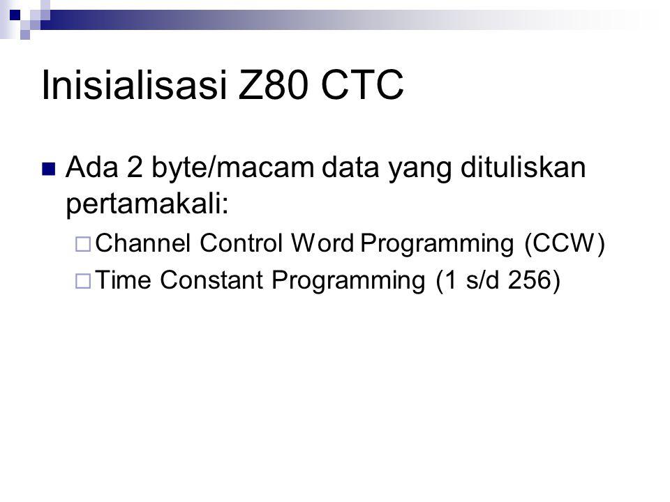 Inisialisasi Z80 CTC Ada 2 byte/macam data yang dituliskan pertamakali:  Channel Control Word Programming (CCW)  Time Constant Programming (1 s/d 25