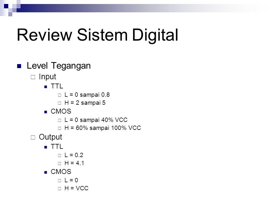 Review Sistem Digital Level Tegangan  Input TTL  L = 0 sampai 0.8  H = 2 sampai 5 CMOS  L = 0 sampai 40% VCC  H = 60% sampai 100% VCC  Output TT