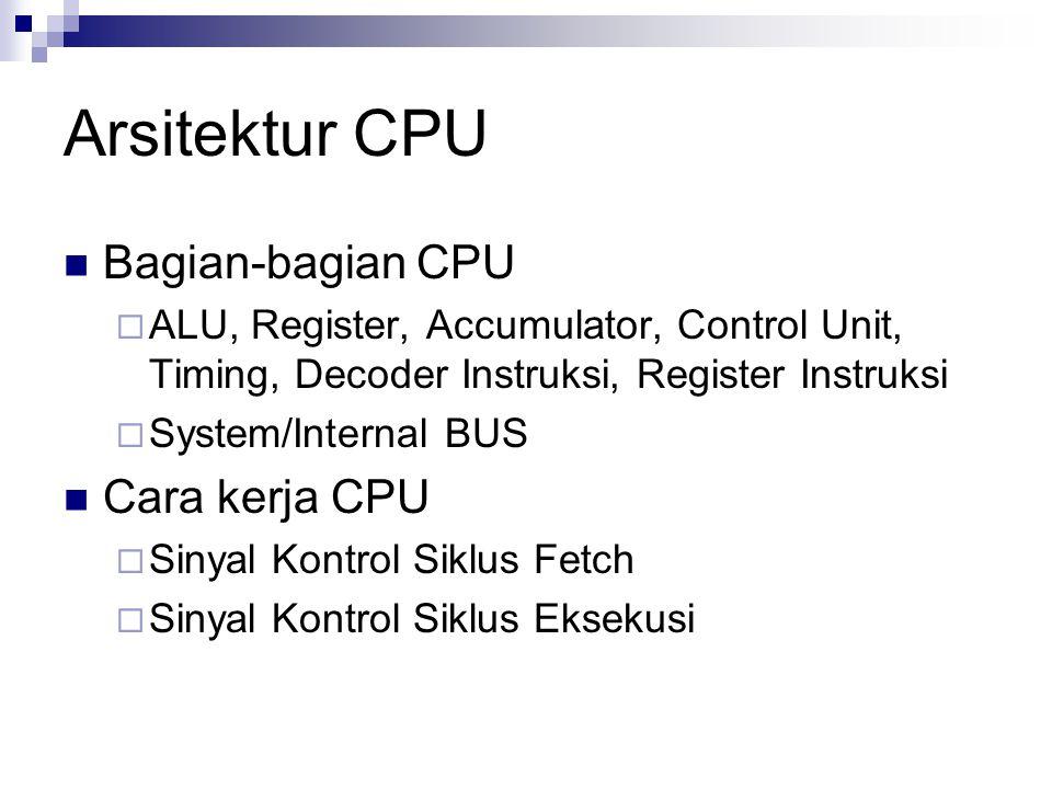 Arsitektur CPU Bagian-bagian CPU  ALU, Register, Accumulator, Control Unit, Timing, Decoder Instruksi, Register Instruksi  System/Internal BUS Cara
