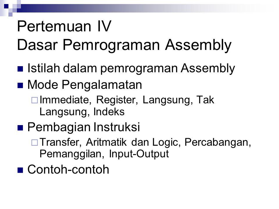 Pertemuan IV Dasar Pemrograman Assembly Istilah dalam pemrograman Assembly Mode Pengalamatan  Immediate, Register, Langsung, Tak Langsung, Indeks Pem