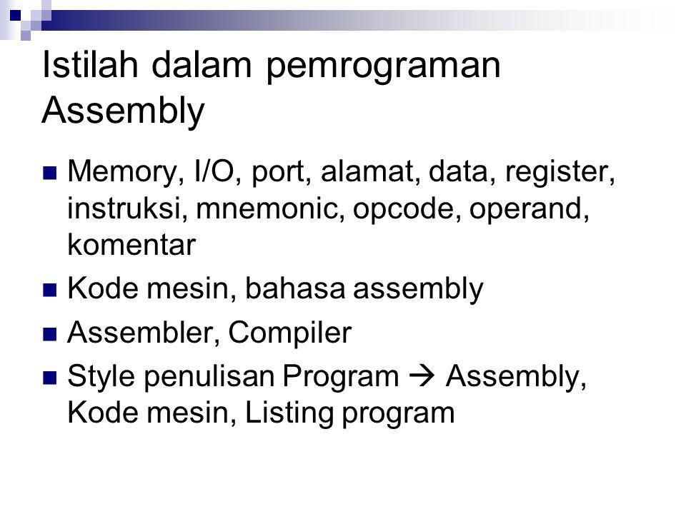 Istilah dalam pemrograman Assembly Memory, I/O, port, alamat, data, register, instruksi, mnemonic, opcode, operand, komentar Kode mesin, bahasa assemb