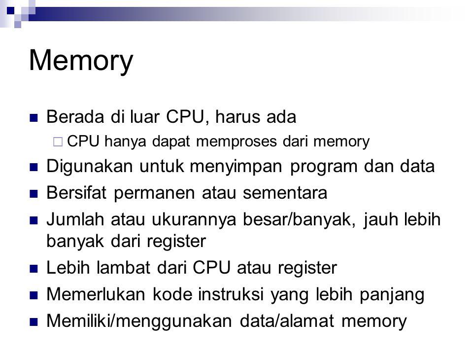 Memory Berada di luar CPU, harus ada  CPU hanya dapat memproses dari memory Digunakan untuk menyimpan program dan data Bersifat permanen atau sementa