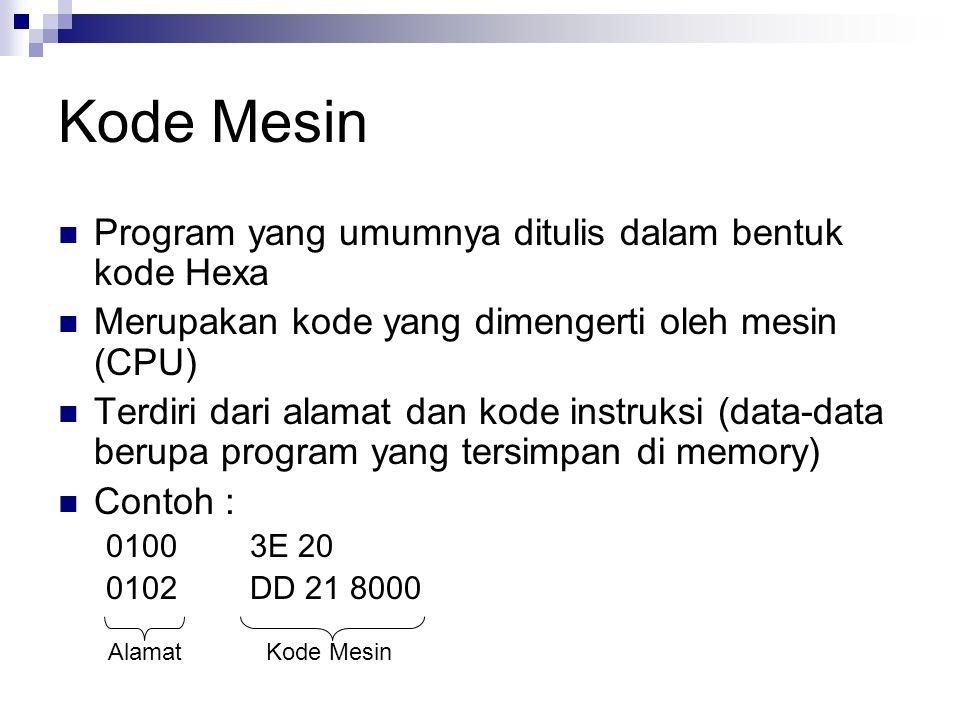 Kode Mesin Program yang umumnya ditulis dalam bentuk kode Hexa Merupakan kode yang dimengerti oleh mesin (CPU) Terdiri dari alamat dan kode instruksi