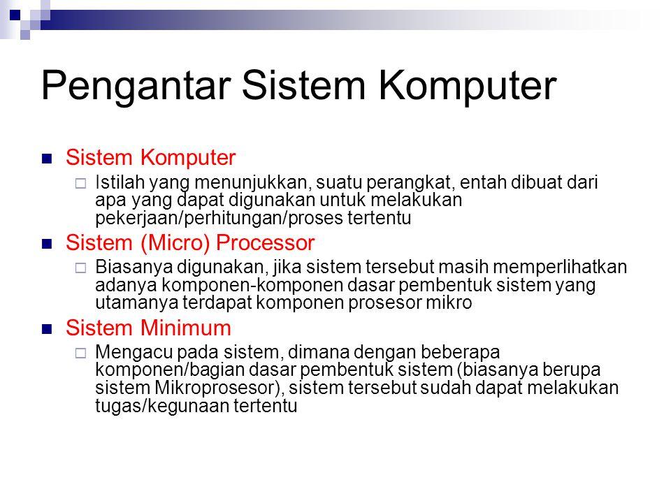I/O Berada di luar CPU Harus ada kalau ingin berhubungan antara sistem mikro dengan dunia luar Tidak bersifat menyimpan data, hanya melewatkan data  Khusus untuk port output, terkadang dilengkapi dengan fungsi latch Kapasitas terbatas (lebih kecil dari memory) Lebih lambat dari CPU, register, memory Menggunakan alamat port