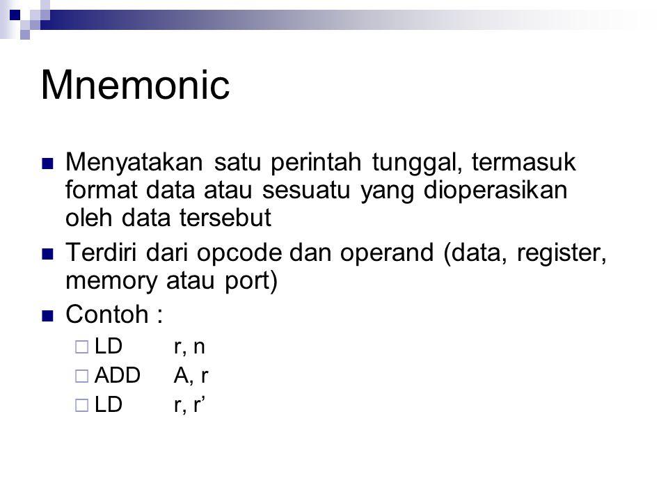 Mnemonic Menyatakan satu perintah tunggal, termasuk format data atau sesuatu yang dioperasikan oleh data tersebut Terdiri dari opcode dan operand (dat