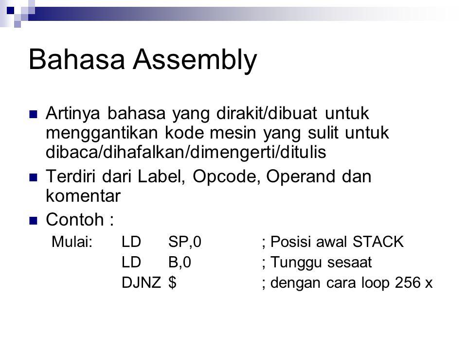 Bahasa Assembly Artinya bahasa yang dirakit/dibuat untuk menggantikan kode mesin yang sulit untuk dibaca/dihafalkan/dimengerti/ditulis Terdiri dari La