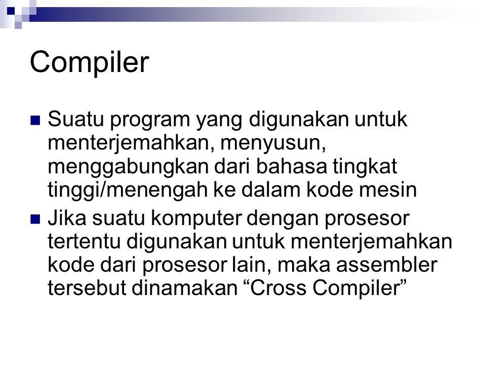 Compiler Suatu program yang digunakan untuk menterjemahkan, menyusun, menggabungkan dari bahasa tingkat tinggi/menengah ke dalam kode mesin Jika suatu