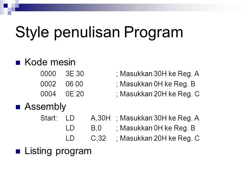 Style penulisan Program Kode mesin 0000 3E 30; Masukkan 30H ke Reg. A 0002 06 00; Masukkan 0H ke Reg. B 00040E 20; Masukkan 20H ke Reg. C Assembly Sta