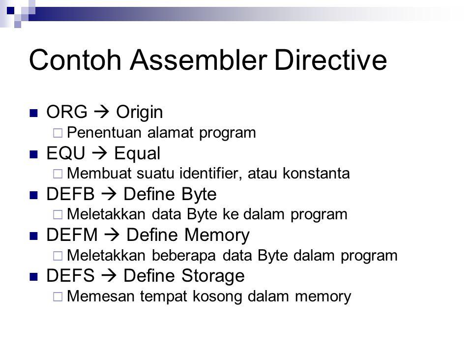 Contoh Assembler Directive ORG  Origin  Penentuan alamat program EQU  Equal  Membuat suatu identifier, atau konstanta DEFB  Define Byte  Meletak