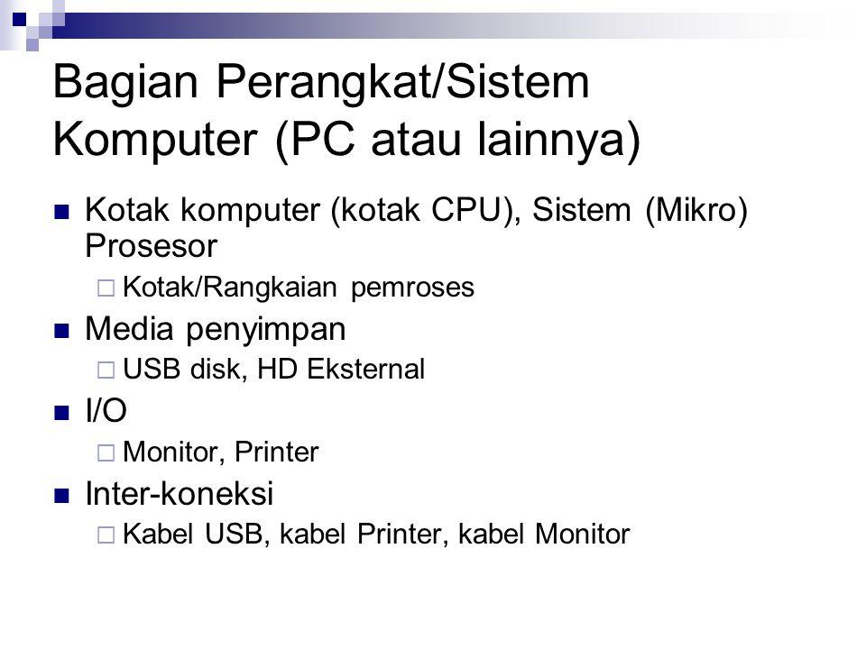 Bagian Sistem (Mikro) Prosesor CPU (apapun itu yang digunakan sebagai pusat pengolah), (Mikro) Prosesor  Z80, Pentium Memori (segala sesuatu yang bersifat menyimpan)  CPU  Cache  Primary  Memory RAM/ROM  Secondary  Internal HD, CD ROM I/O (segala sesuatu untuk keperluan interaksi komputer dengan dunia luar)  Simple I/O  PPI-8255, Z80-PIO  Analog  ADC/DAC  Komunikasi  UART, USART Inter-koneksi (hubungan, bisa kabel atau lainnya, antara bagian dengan bagian lainnya)  BUS