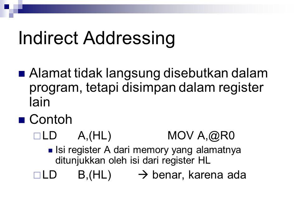 Indirect Addressing Alamat tidak langsung disebutkan dalam program, tetapi disimpan dalam register lain Contoh  LDA,(HL)MOVA,@R0 Isi register A dari