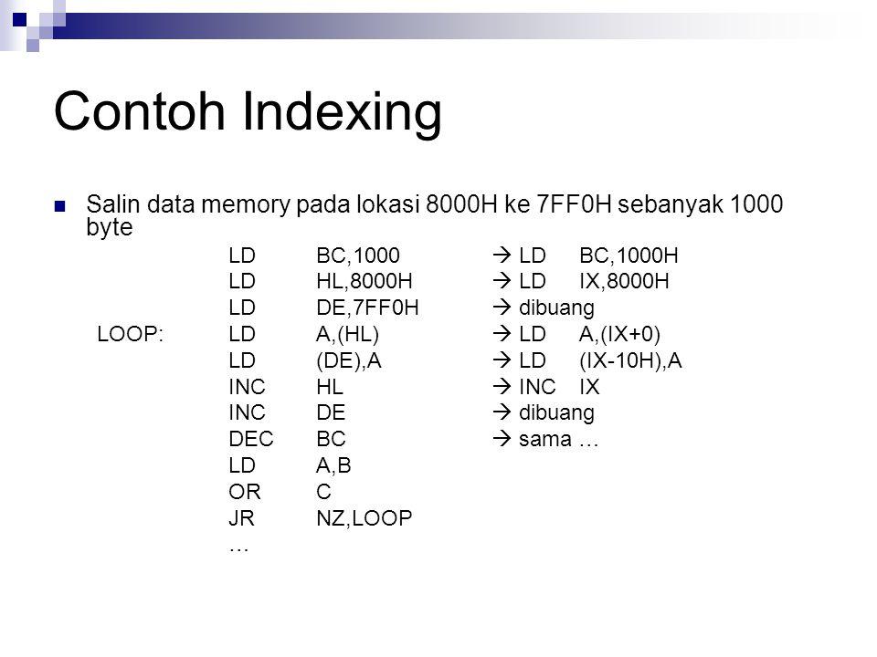 Contoh Indexing Salin data memory pada lokasi 8000H ke 7FF0H sebanyak 1000 byte LDBC,1000  LDBC,1000H LDHL,8000H  LDIX,8000H LDDE,7FF0H  dibuang LO