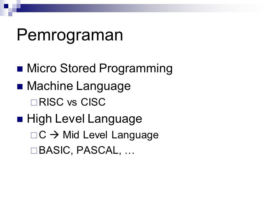 Micro Stored Programming Pemrograman pada tingkat CPU/Prosesor Masukan/data/program dalam bentuk kode mesin (1 data) yang masuk dalam CPU Digunakan untuk menjalankan/mengendalikan internal CPU/Prosesor  Dalam bentuk sinyal-sinyal kendali Implementasi pemrograman umumnya dalam bentuk H/W