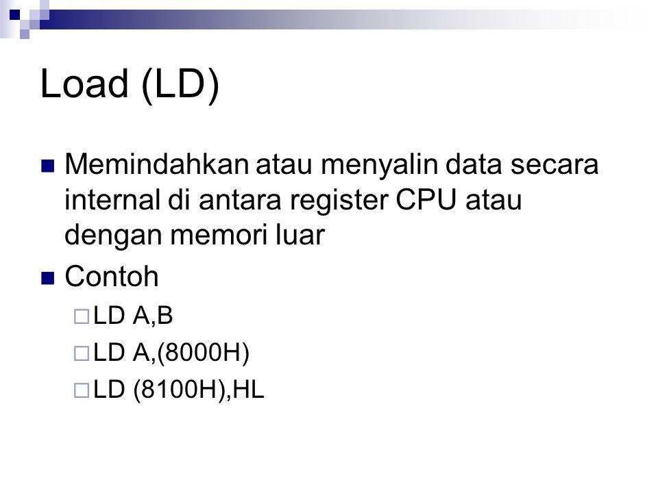 Load (LD) Memindahkan atau menyalin data secara internal di antara register CPU atau dengan memori luar Contoh  LD A,B  LD A,(8000H)  LD (8100H),HL