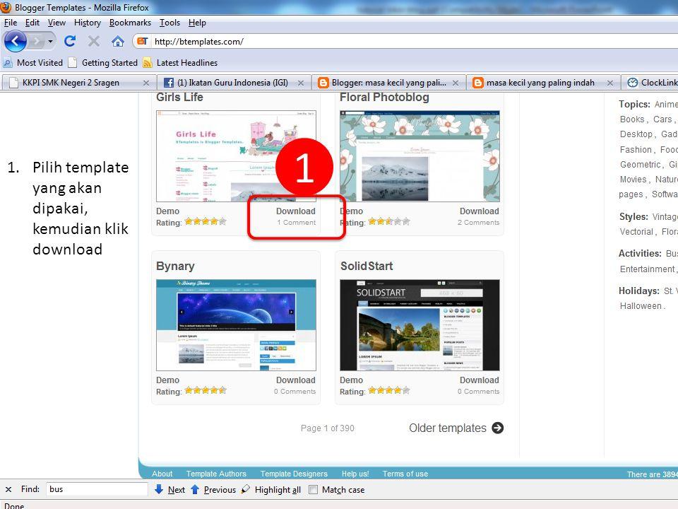 3 Created by : www.rokhmad.blogspot.com 1.Pilih template yang akan dipakai, kemudian klik download 1