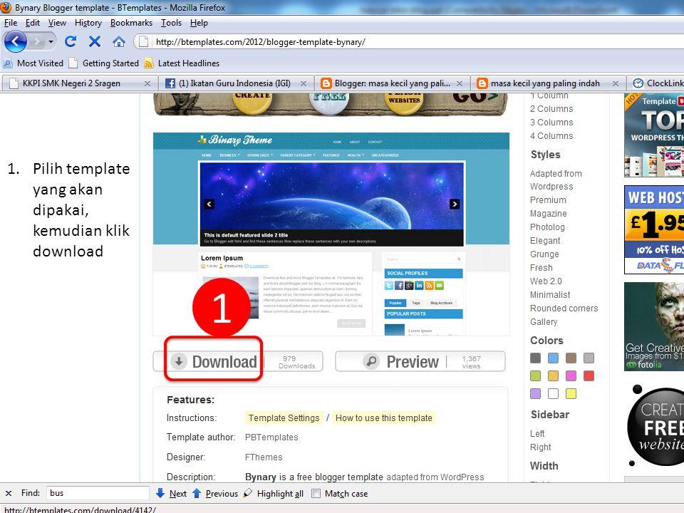 4 Created by : www.rokhmad.blogspot.com 1.Pilih template yang akan dipakai, kemudian klik download 1
