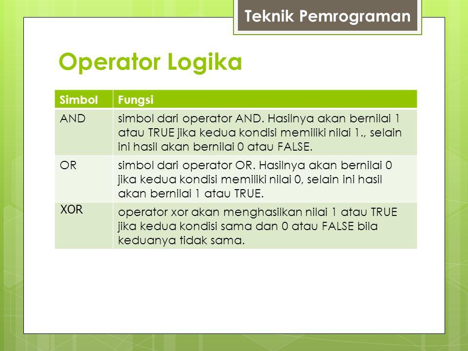 Operator Logika SimbolFungsi ANDsimbol dari operator AND.