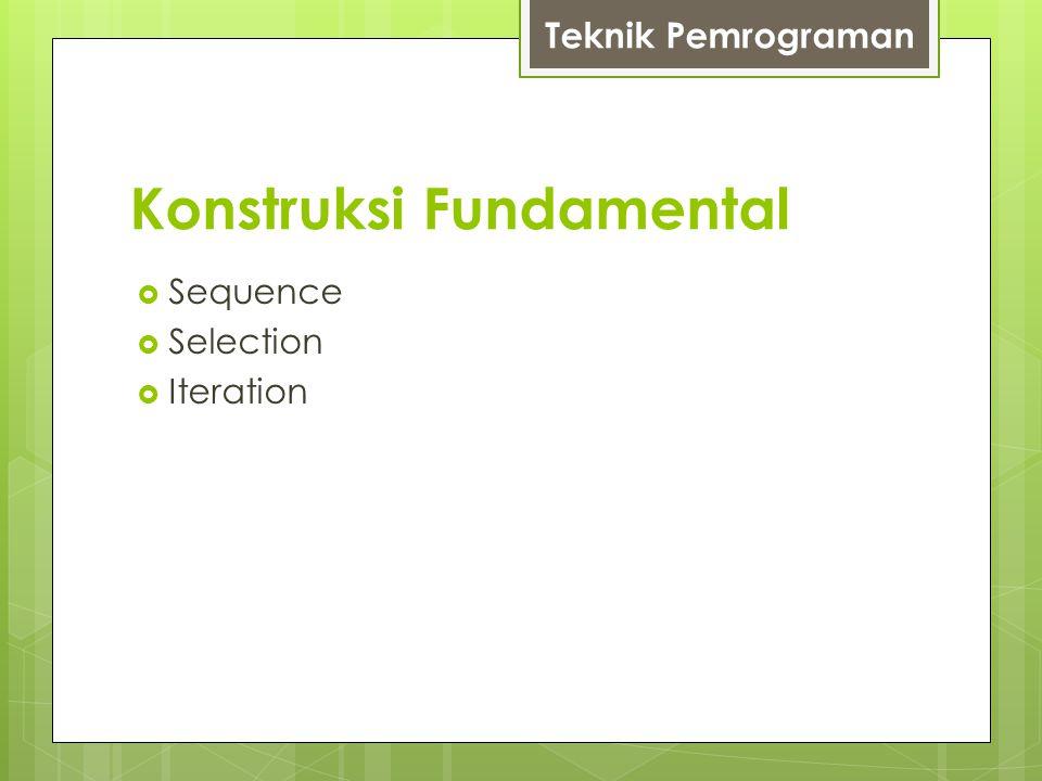 Konstruksi Fundamental  Sequence  Selection  Iteration Teknik Pemrograman