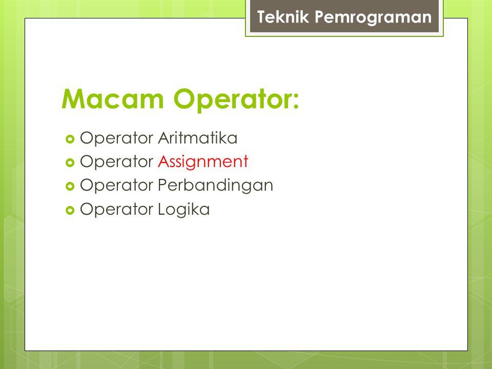 Macam Operator:  Operator Aritmatika  Operator Assignment  Operator Perbandingan  Operator Logika Teknik Pemrograman