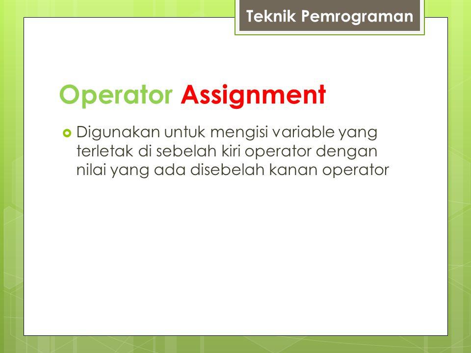 Operator Assignment SimbolFungsiContoh =Mengisikan nilai yang disebelah kanan operator ke variabel yang terletak di sebelah kiri operator.