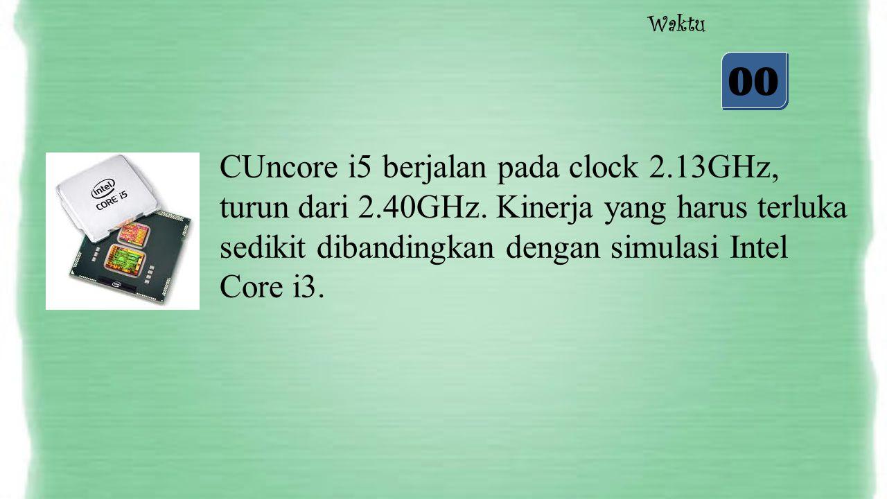05 04 03 02 01 00 Waktu CUncore i5 berjalan pada clock 2.13GHz, turun dari 2.40GHz. Kinerja yang harus terluka sedikit dibandingkan dengan simulasi In
