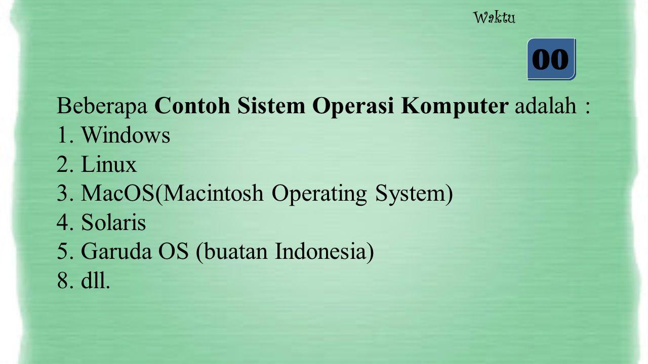 05 04 03 02 01 00 Waktu Beberapa Contoh Sistem Operasi Komputer adalah : 1. Windows 2. Linux 3. MacOS(Macintosh Operating System) 4. Solaris 5. Garuda