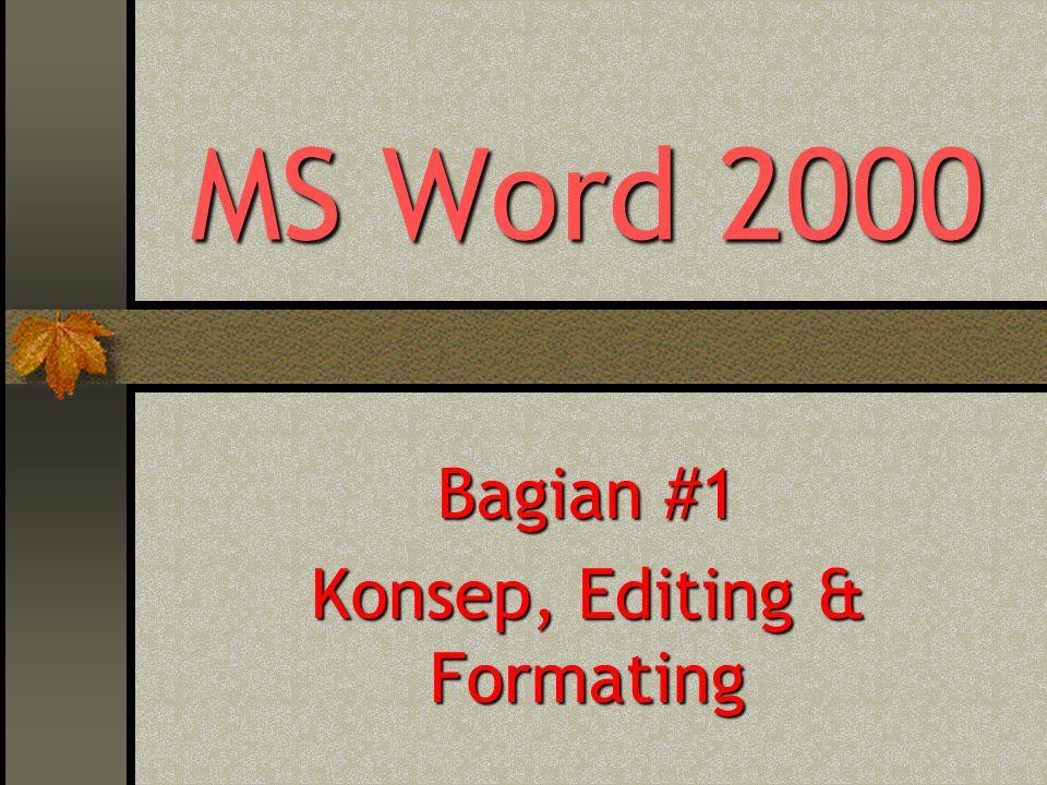 MS Word 2000 #1 – Haryoso Wicaksono 2 Materi : Pengantar Mengetahui layar & kegunaan Word 2000 Mengetahui editing teks Mengetahui cara pengaturan dokumen Mengetahui cara pengaturan tampilan teks Format Dokumen Format Font Format Border and Shading Format Paragraph Insert Symbol