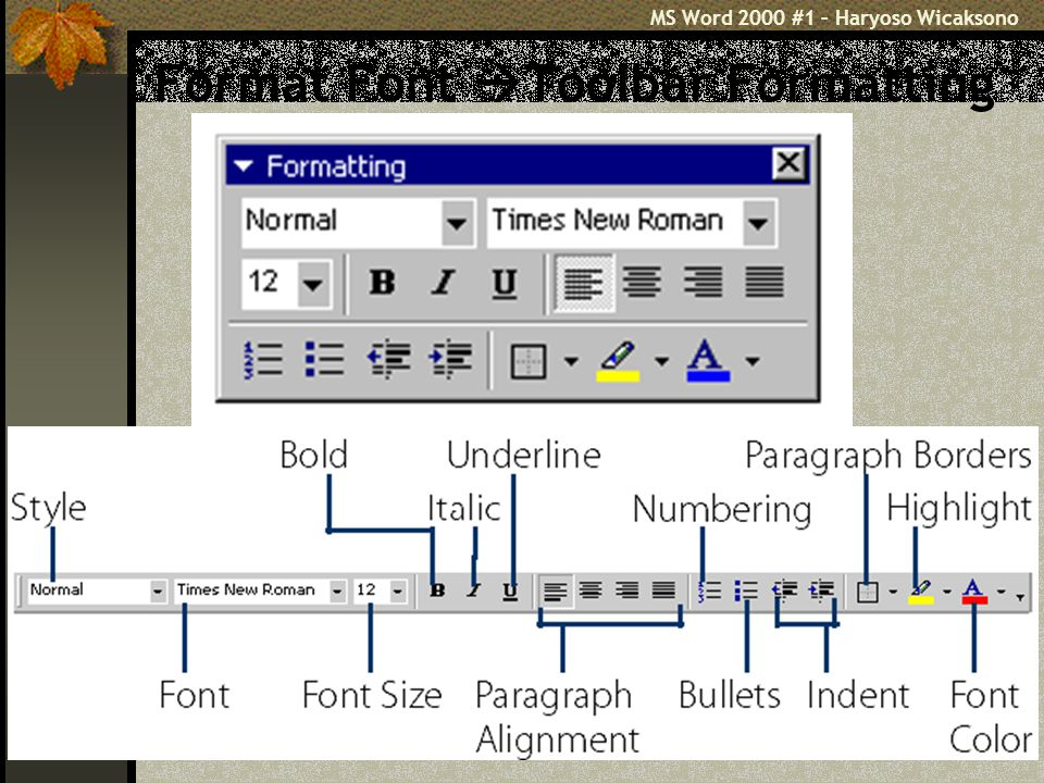 MS Word 2000 #1 – Haryoso Wicaksono 21 Format Font  Toolbar Formatting