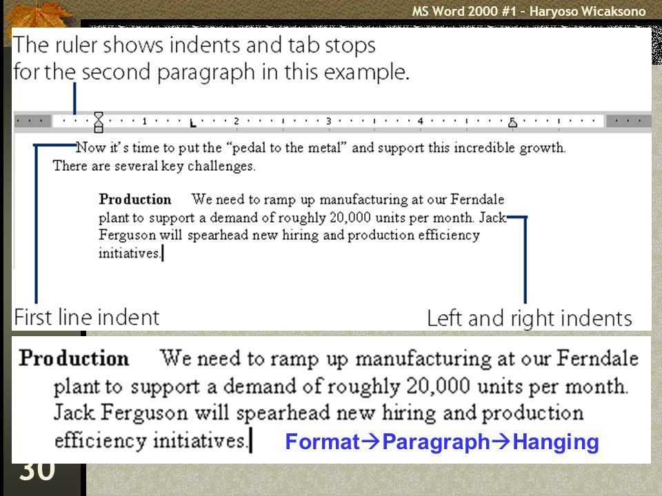 MS Word 2000 #1 – Haryoso Wicaksono 30 Format  Paragraph  Hanging