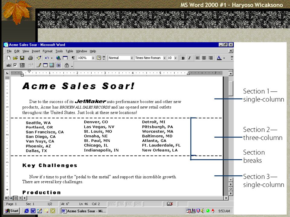 5 Mengenal MS Word Mengenal Elemen Jendela Word 2000 Menu Bar Toolbar Ruler ScrollBar