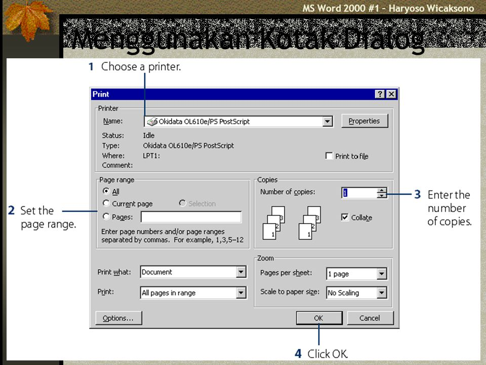 MS Word 2000 #1 – Haryoso Wicaksono 9 Bekerja dg Word 2000 Membuat Dokumen Baru Menggeser Insertion Point/kursor Memisahkan & Menggabungkan Paragraf  [Enter] & [Delete] Menandai Teks (blok), bila mau editing diawali dengan blok (selection)  memilih bagian tertentu.