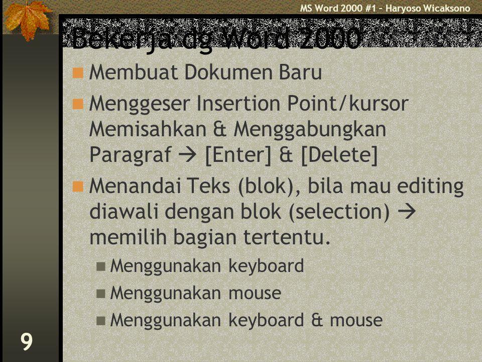 MS Word 2000 #1 – Haryoso Wicaksono 10 Editing Teks 4 langkah : 1.