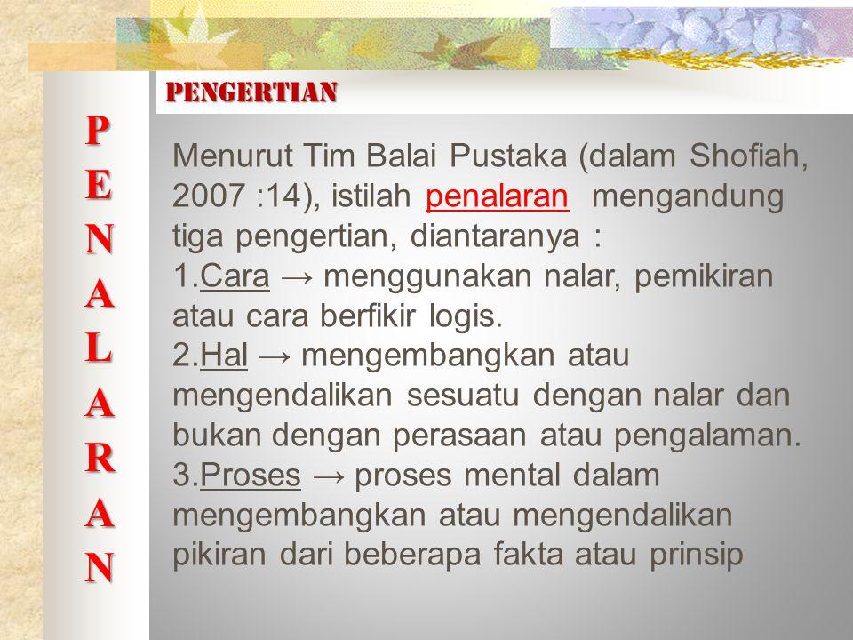 Menurut Tim Balai Pustaka (dalam Shofiah, 2007 :14), istilah penalaran mengandung tiga pengertian, diantaranya : 1.