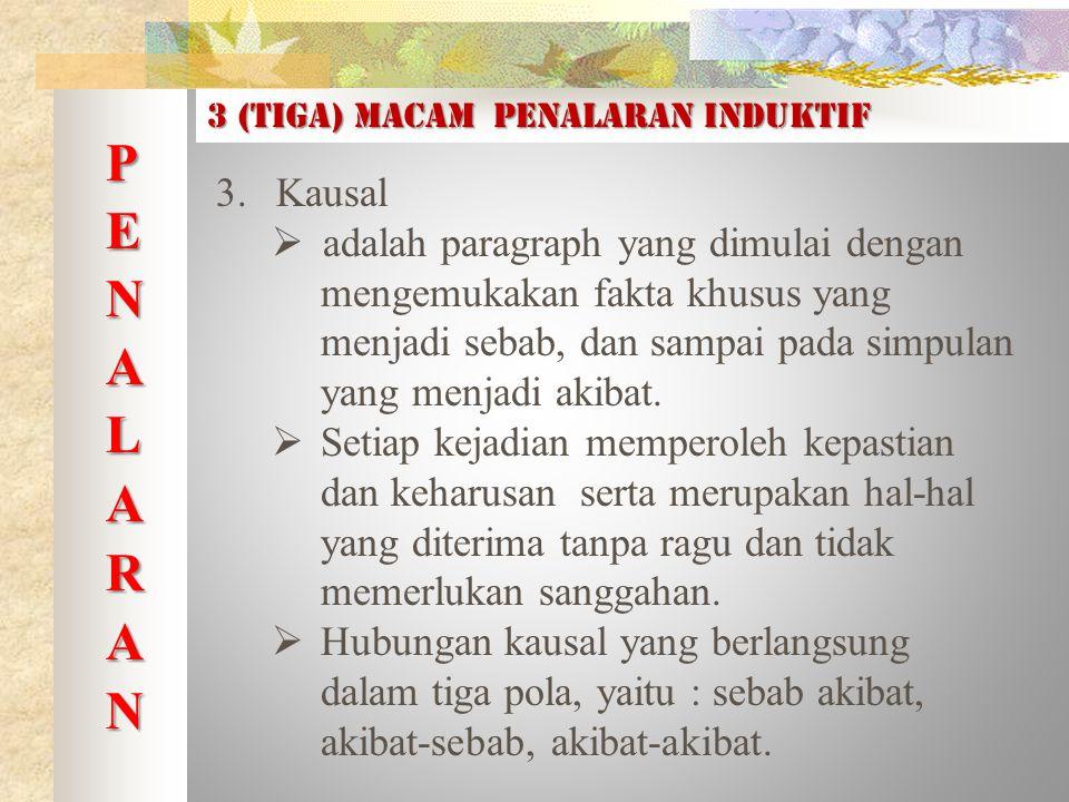 3 (tiga) macam PENALARAN INDUKTIF 3.Kausal  adalah paragraph yang dimulai dengan mengemukakan fakta khusus yang menjadi sebab, dan sampai pada simpulan yang menjadi akibat.
