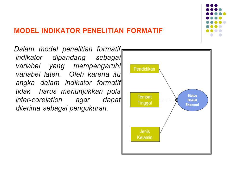 MODEL INDIKATOR PENELITIAN FORMATIF Dalam model penelitian formatif indikator dipandang sebagai variabel yang mempengaruhi variabel laten. Oleh karena