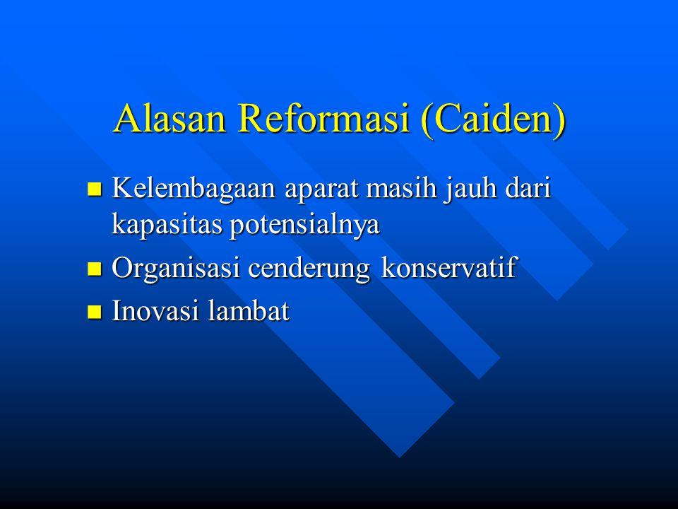 Alasan Reformasi (Caiden) Kelembagaan aparat masih jauh dari kapasitas potensialnya Kelembagaan aparat masih jauh dari kapasitas potensialnya Organisa