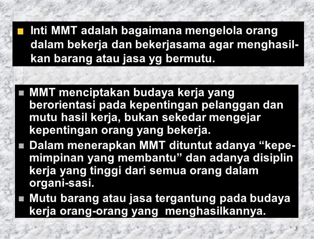 3 Inti MMT adalah bagaimana mengelola orang dalam bekerja dan bekerjasama agar menghasil- kan barang atau jasa yg bermutu.