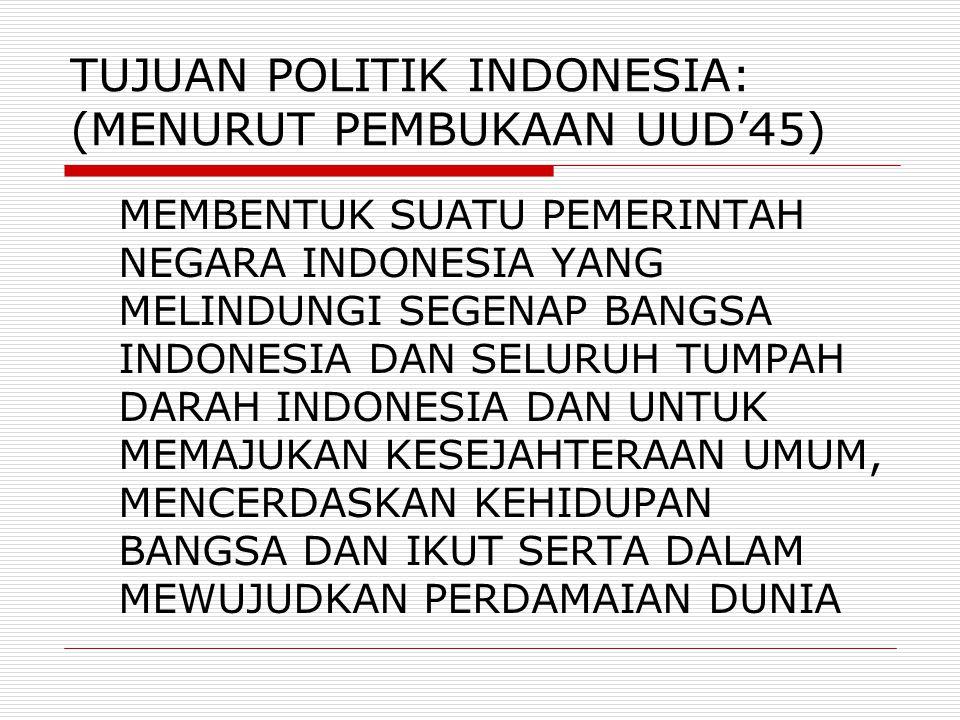 TUJUAN POLITIK INDONESIA: (MENURUT PEMBUKAAN UUD'45) MEMBENTUK SUATU PEMERINTAH NEGARA INDONESIA YANG MELINDUNGI SEGENAP BANGSA INDONESIA DAN SELURUH TUMPAH DARAH INDONESIA DAN UNTUK MEMAJUKAN KESEJAHTERAAN UMUM, MENCERDASKAN KEHIDUPAN BANGSA DAN IKUT SERTA DALAM MEWUJUDKAN PERDAMAIAN DUNIA