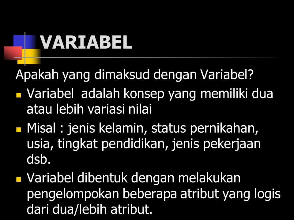 VARIABEL Apakah yang dimaksud dengan Variabel? Variabel adalah konsep yang memiliki dua atau lebih variasi nilai Misal : jenis kelamin, status pernika