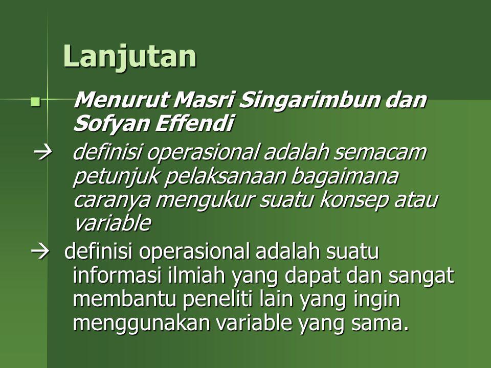Lanjutan Menurut Masri Singarimbun dan Sofyan Effendi Menurut Masri Singarimbun dan Sofyan Effendi  definisi operasional adalah semacam petunjuk pela