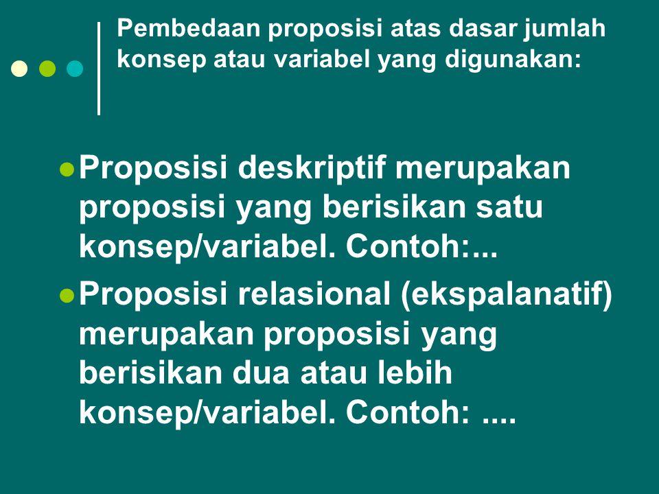 Pembedaan proposisi atas dasar jumlah konsep atau variabel yang digunakan: Proposisi deskriptif merupakan proposisi yang berisikan satu konsep/variabe