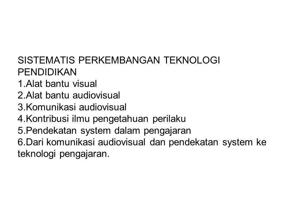 SISTEMATIS PERKEMBANGAN TEKNOLOGI PENDIDIKAN 1.Alat bantu visual 2.Alat bantu audiovisual 3.Komunikasi audiovisual 4.Kontribusi ilmu pengetahuan peril