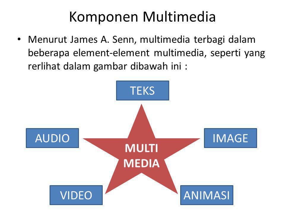 Komponen Multimedia Menurut James A. Senn, multimedia terbagi dalam beberapa element-element multimedia, seperti yang rerlihat dalam gambar dibawah in