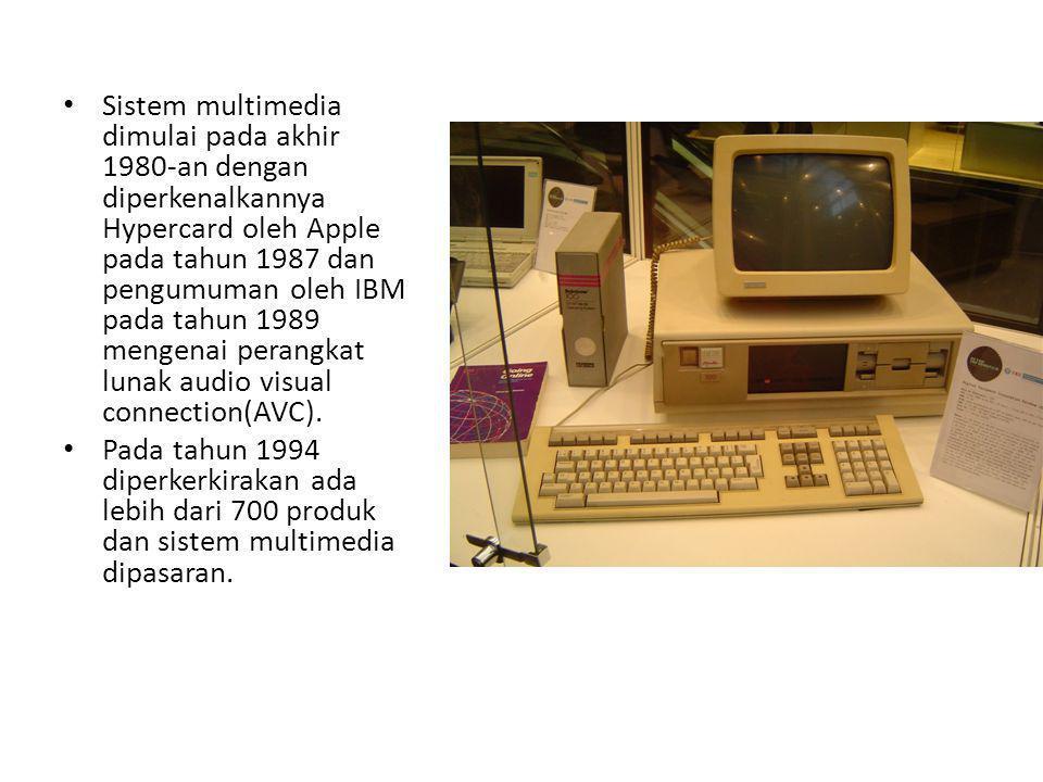 Sistem multimedia dimulai pada akhir 1980-an dengan diperkenalkannya Hypercard oleh Apple pada tahun 1987 dan pengumuman oleh IBM pada tahun 1989 meng