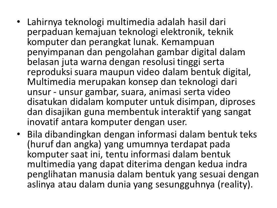 Lahirnya teknologi multimedia adalah hasil dari perpaduan kemajuan teknologi elektronik, teknik komputer dan perangkat lunak. Kemampuan penyimpanan da