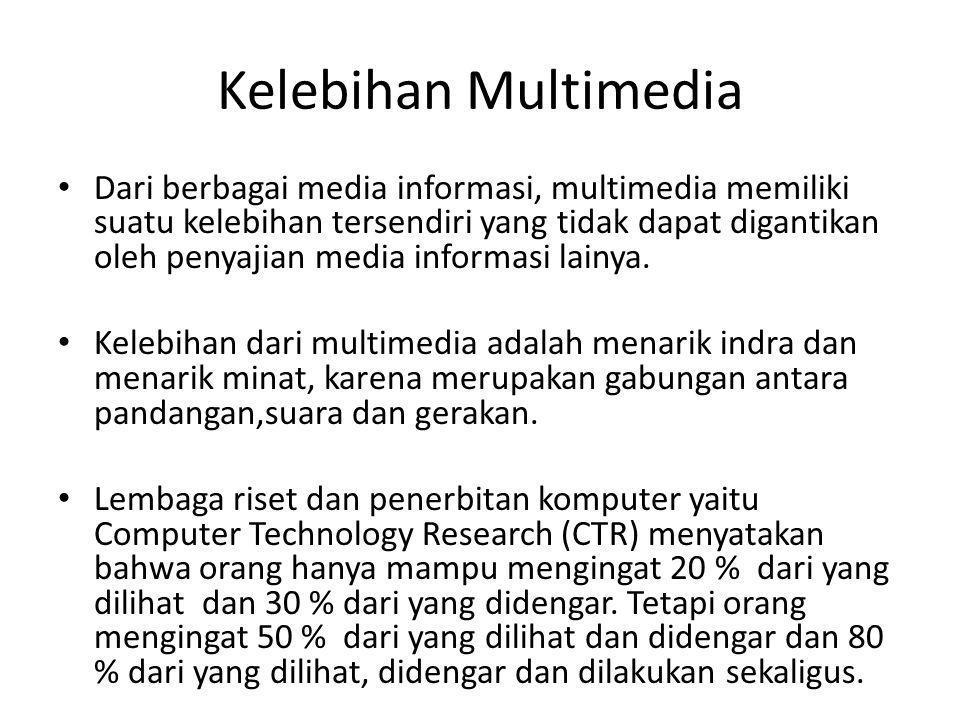 Kelebihan Multimedia Dari berbagai media informasi, multimedia memiliki suatu kelebihan tersendiri yang tidak dapat digantikan oleh penyajian media in