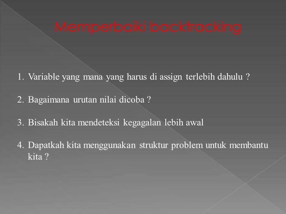 Memperbaiki backtracking 1.Variable yang mana yang harus di assign terlebih dahulu .