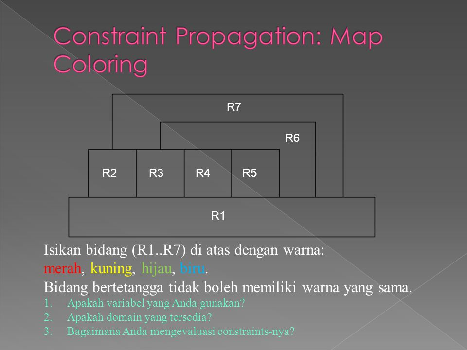 Isikan bidang (R1..R7) di atas dengan warna: merah, kuning, hijau, biru.