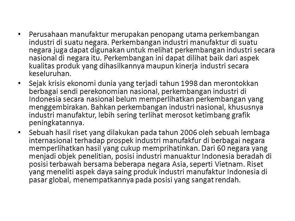 Perusahaan manufaktur merupakan penopang utama perkembangan industri di suatu negara. Perkembangan industri manufaktur di suatu negara juga dapat digu